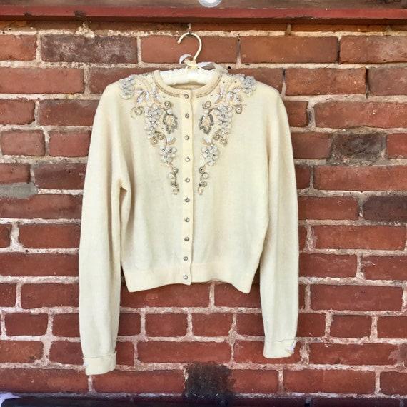 Embroidered Cream Cashmere Sweater - image 6