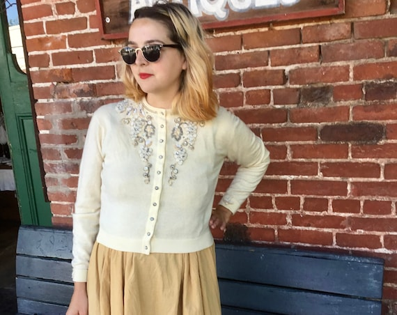 Embroidered Cream Cashmere Sweater