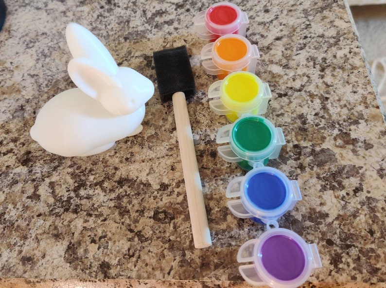 Kids Crafting Kit Easter 3D Bunny Brushes Paint