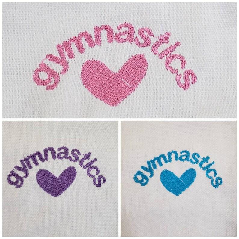 Embroidered gymnastics  cotton canvas gift bag nine options gymnast swag small