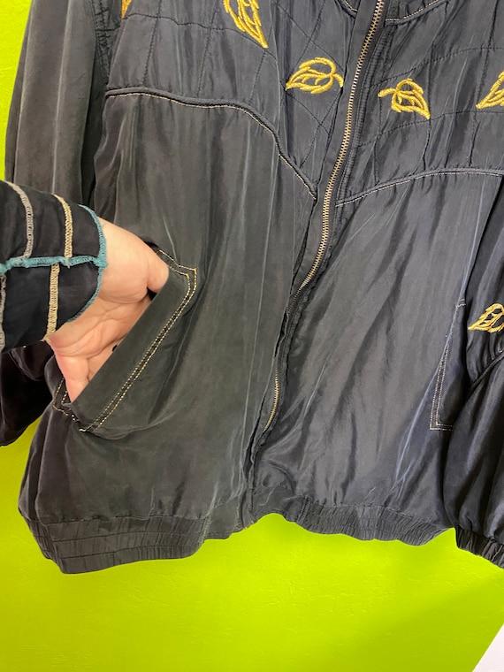 FUDA International Silk Jacket Black and Gold Zip… - image 3