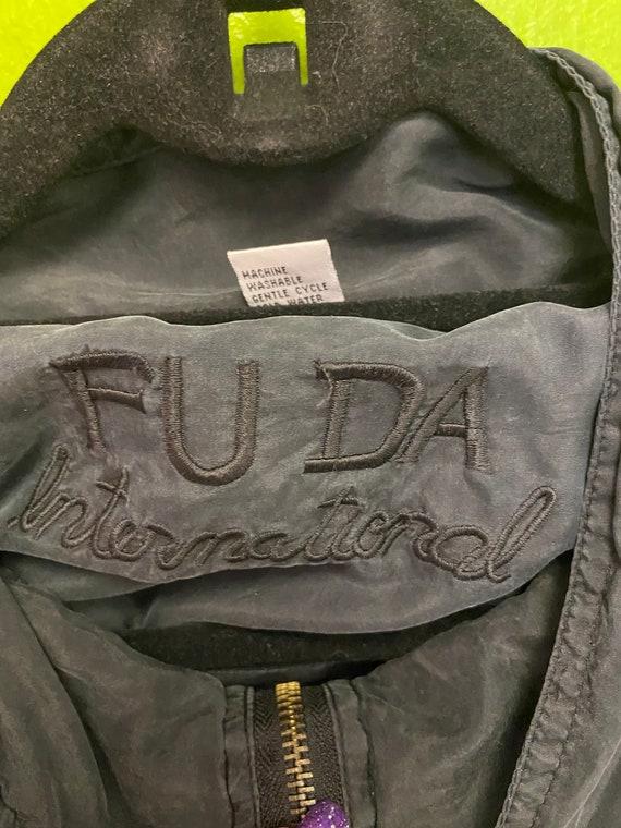 FUDA International Silk Jacket Black and Gold Zip… - image 2