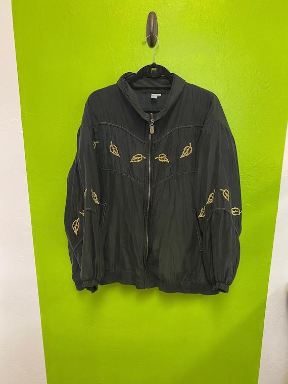 FUDA International Silk Jacket Black and Gold Zip… - image 1