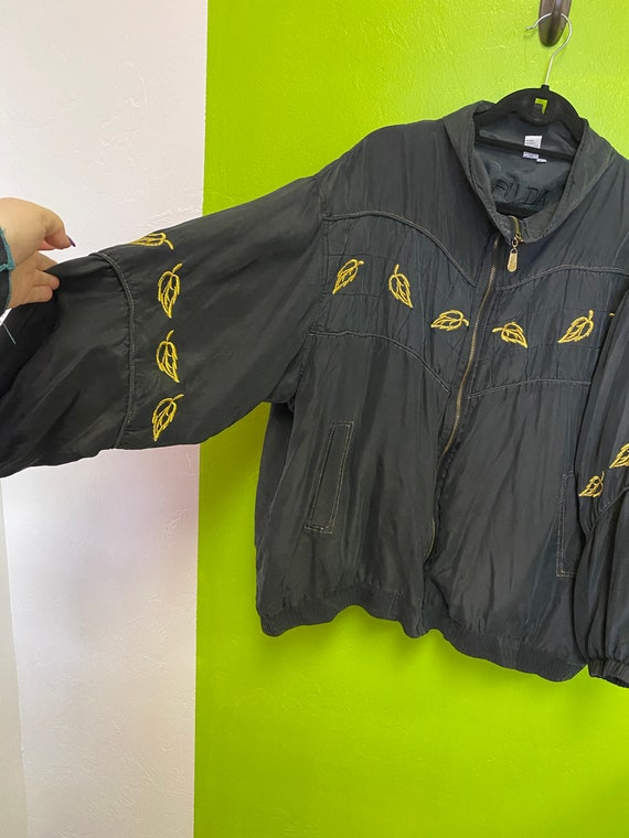 FUDA International Silk Jacket Black and Gold Zip… - image 4
