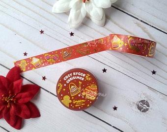 Cozy Hygge Christmas Washi Tape | Decorative Tape | Winter Seasonal Tape | Kawaii Japanese Washi Tape | Gold Foil Washi Tape | Hygge Vibes