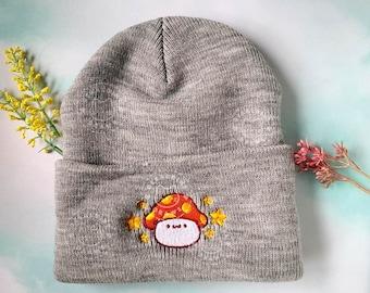 Kawaii MapleStory Orange Mushroom Beanie Hat | Cute MapleStory Mushroom Apparel | Embroidered Orange Mushroom Maple Fall & Winter Fashion