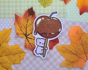 Cute Caramel Apple Sticker | Kawaii Food Art | Dessert Art | Vinyl Waterproof Sticker | Fall Dessert Sticker | Matte Laptop Decal | Autumnal