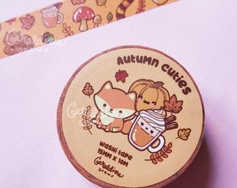15mm Leaf Washi Tape Autumn Washi Tape Fall Foliage Washi Tape Light Brown  Beige