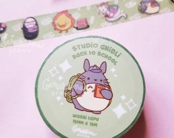 Studio Ghibli Back to School Washi Tape | Kawaii Aesthetic Washi Tape | Back to School Washi Tape | Anime Inspired Washi Tape