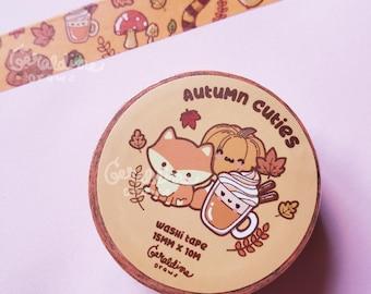 Autumn Cuties Washi Tape | Autumnal Washi Tape | Kawaii Washi Tape | Fox Washi Tape | Fall Leaves Washi Tape | Fall Seasonal Tape