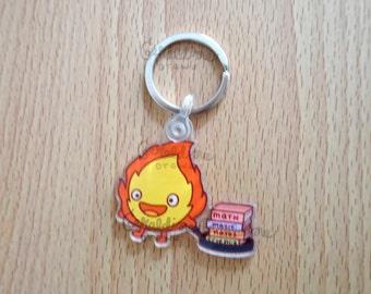"Schoolboy Calcifer Keychain | Single Sided 2"" Keychain | Cute Japanese Inspired Keychain | Back to School | Anime Keychain Accessories"