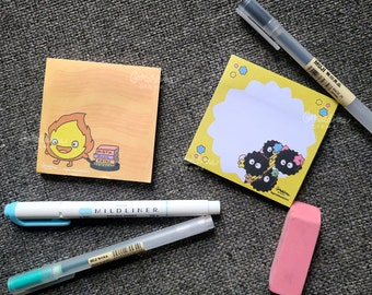 Cute Soot Sprites & Calcifer 3 x 3 Sticky Notes | Memo Pads | Cute Desk Stationery | Small Memo Pads | Studio Ghibli Sticky Notes