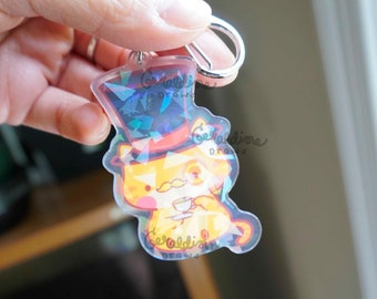 Sophisticated Kittea Holo Keychain   Cat Lovers Gift   Kawaii Aesthetic Art   Teatime   Cat Illustrations   Cat Merch and Accessories