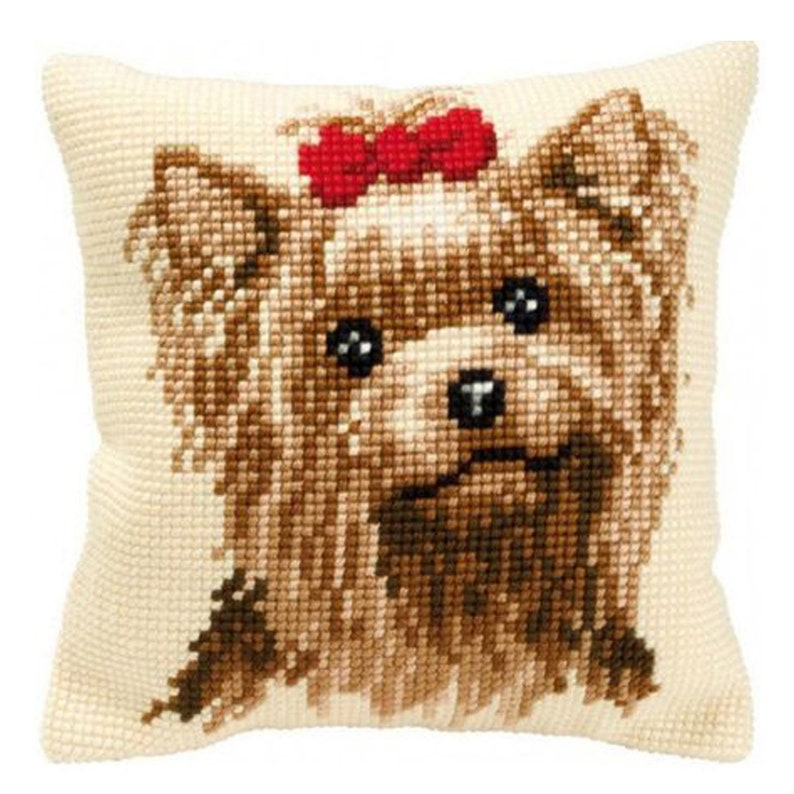 Latch Hooking Kit Bow tie Dog pillow Pillowcase Size image 0