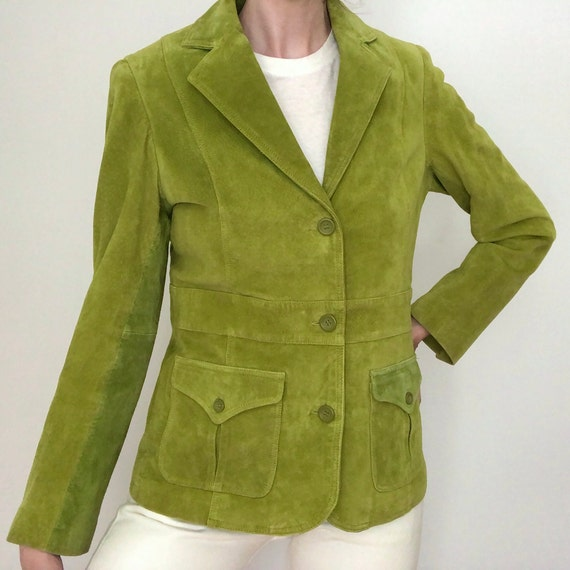 Vintage green suede jacket 90s does 70s small Liz