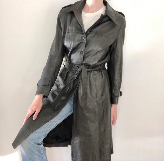 Vintage 70s leather trench jacket black big point