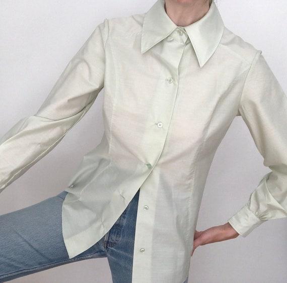 True vintage 60s mod big collar blouse shirt butto