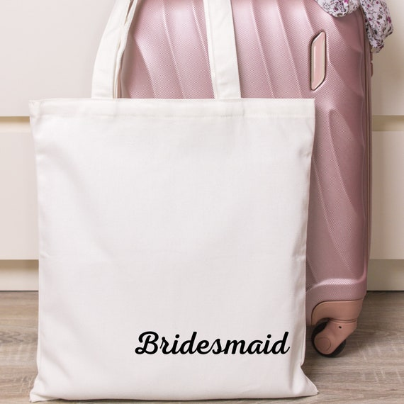 Any Name /& choice of colour Customised Gift Bridesmaid Bride Maid of Honour Mother of the Groom Personalised Wedding Cotton Tote Bag