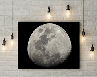Full Moon at Night Canvas UK Lunar Wall Art Decor Picture Print Gift For Him Her Home Space Cosmos Planet Universe Science Sky Pine Frame