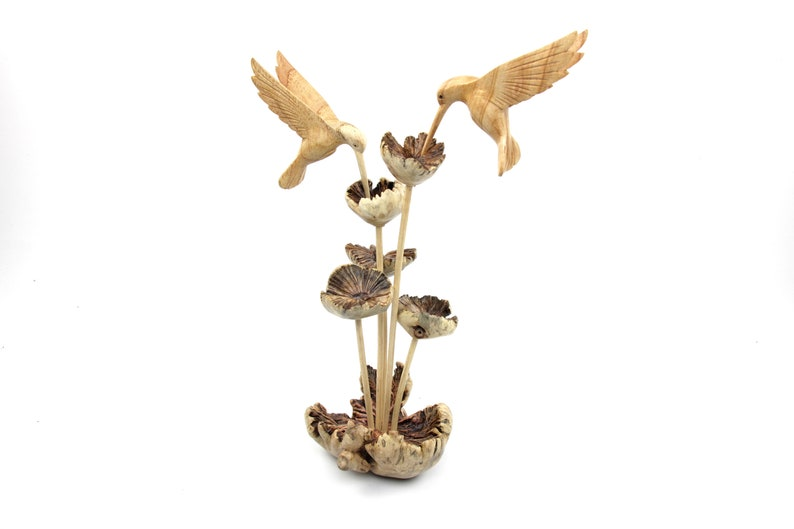 Colibri Statue Animal Rustic Wooden Hummingbird Couple Sculpture Wood Carving Figurine Wedding Gift Handmade Home Decor Mom Gift