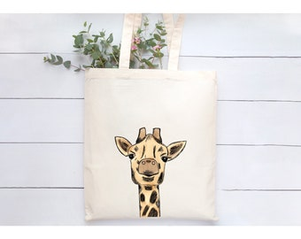 Giraffe Tote Bag/Gift for Giraffe Lovers/ Giraffe Reusable Bag/ Animal Tote Bag/ Wild Animal Reusable Bag/ Gift for her/ Gift for him