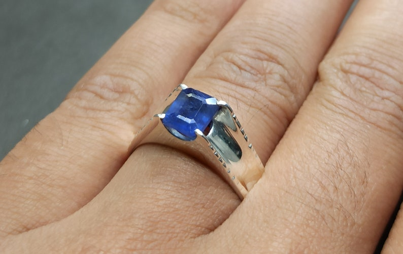 Natural Ceylon Emerald Cut Blue Women Ring Sapphire Sterling Silver 925 Handmade Neelam Ring
