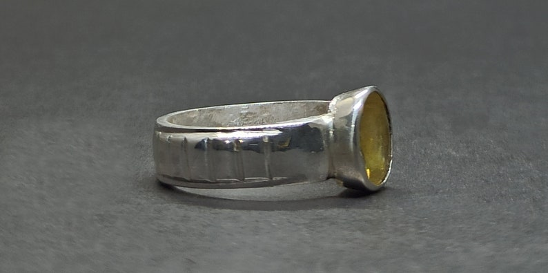 Round Cut Natural 5 Carat Ceylon Yellow Sapphire Sterling Silver 925 Handmade Women Ring Pukhraj Ring