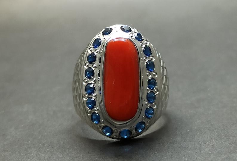 Natural 6 Carat Australian Deep Red Coral Mens Ring Sterling Silver 925 Handmade Marjan Ring