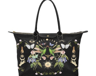 Witchy Hummingbirds of Light Vegan Tote Bag, Witchy Clothing, Witchy Tote Bag, Witchy Bag, Pagan, Witch, Occult, Magick