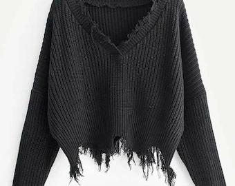Witchy Black Frayed Trim Drop Shoulder Sweater, Witchy Sweater, Witchy Clothing, Witch Sweater, Occult, Boho Chic