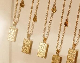 Gold Rectangle Zodiac Sign Tarot Card Inspired Necklace, Witchy Necklace, Witchy Jewelry, Zodiac Jewelry, Witch, Zodiac