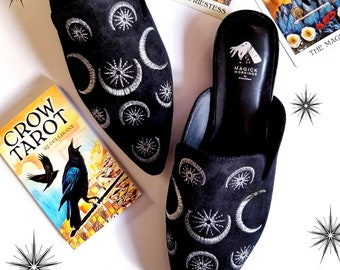 Witchy Embroidered Hecate Triple Moon + Star Mules, Witchy Shoes, Witchy Clothing, Witch Shoes, Mules, Witch, Occult, Boho Chic, Celestial