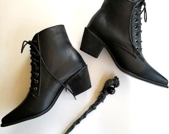 Witchy Classic Black Witch Boot, Witchy Booties, Witch Shoes, Witchy Clothing, Witch Laceup Boots, Boots, Witch, Occult, Boho Chic