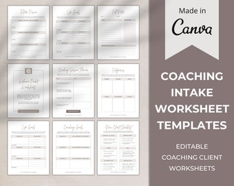 Coaching Worksheet Templates   Client Coaching Intake Forms   Business Coach   Life Coach   Canva Template   New Client Welcome Packet Forms