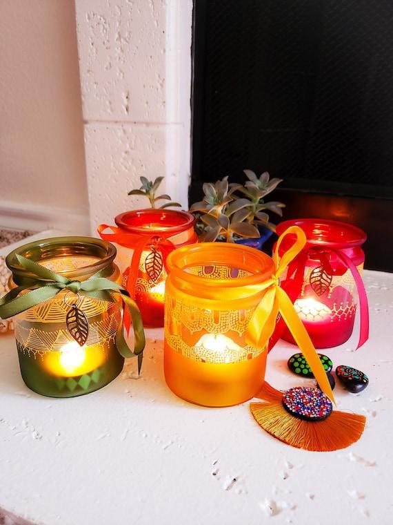 Glass Tealight Candle Holders Moroccan Candleholders Boho Etsy