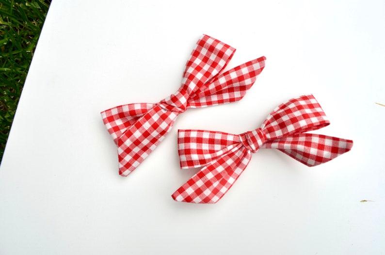 Schoolgirl Red Gingham Pigtail Set of 2