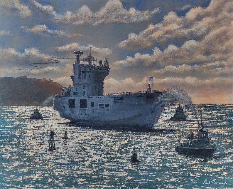 HMS Ocean's Last Sail  Paul Acraman Acrylic Painting image 0