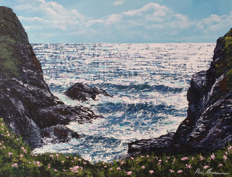 Treyarnon Cliffs  Paul Acraman Acrylic Painting image 0