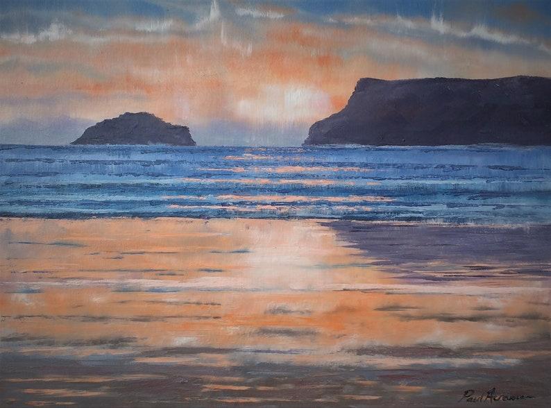 Polzeath Sunset  Paul Acraman Oil Painting image 0