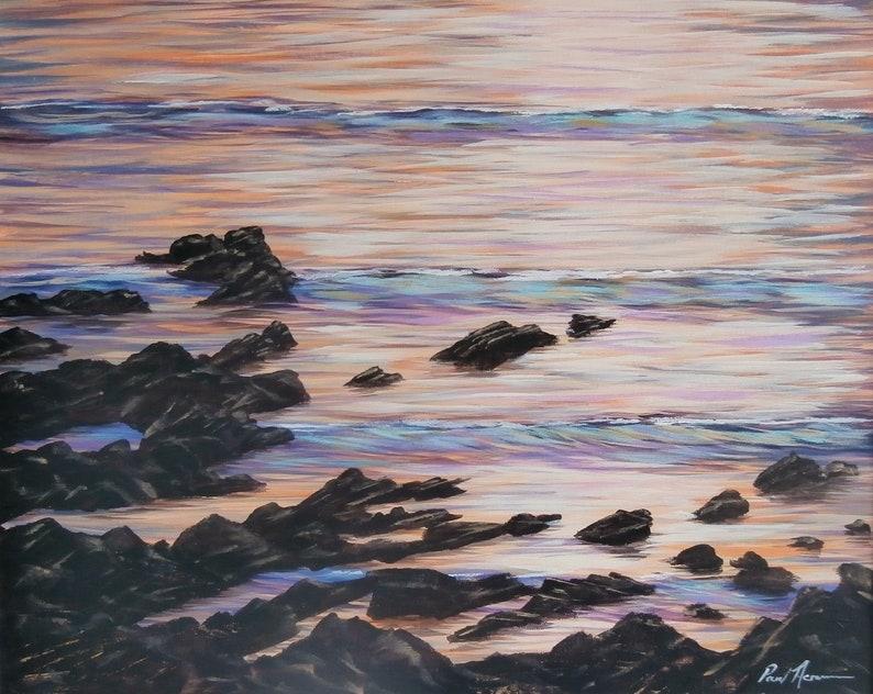 Calm Sunset Waves  Paul Acraman Acrylic Painting image 0