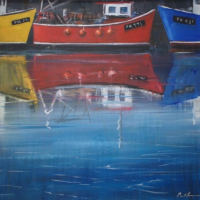 Red Boat  Paul Acraman Acrylic Painting image 0
