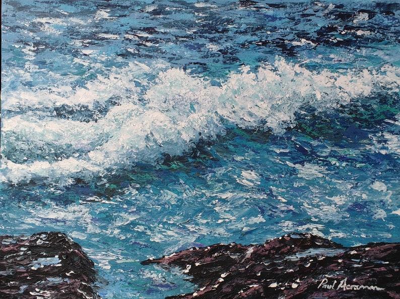 Breaking Waves and Rocks  Paul Acraman Acrylic Painting image 0