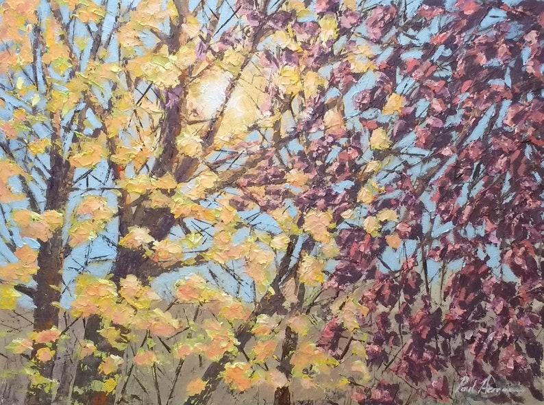 Sunny Beeches  Paul Acraman Acrylic Painting image 0