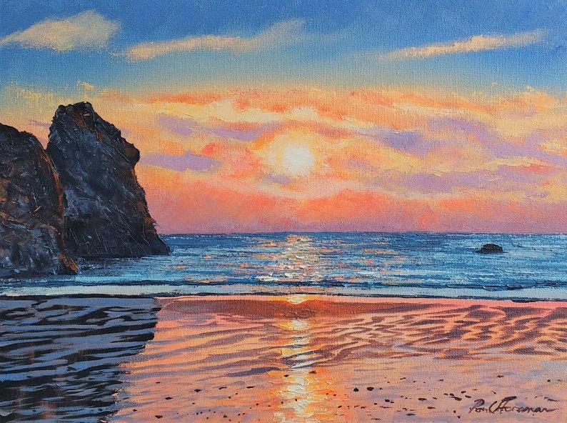Porthcothan Sunset  Paul Acrylic Original Painting image 0
