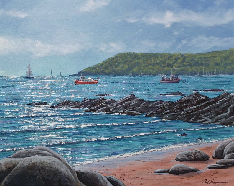 Secret Beach Kingsand  Paul Acraman Acrylic Painting image 0