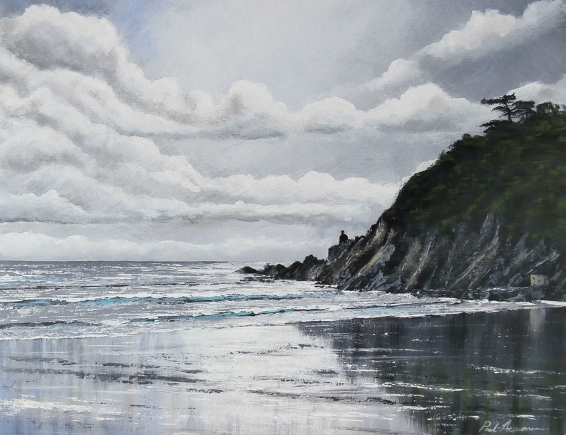 Mothecombe Beach Reflections  Paul Acraman Acrylic Painting image 0
