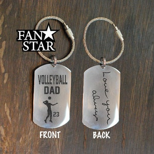 VOLLEYBALL DAD Keychain Custom|Handwriting /& Font Options|Personalized|Stainless Steel|Laser Engraved Key Chain