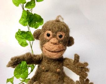 Needle felted monkey - felt chimp - monkey plush toy - chimp plush toy - monkey gift -