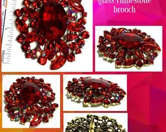 Large red floral vintage rhinestone brooch