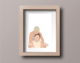 9x12 CUSTOM 3-PERSON PORTRAIT portrait drawingfather son portraitbirthday giftpencil portraitsketch portraitpersonalized drawing